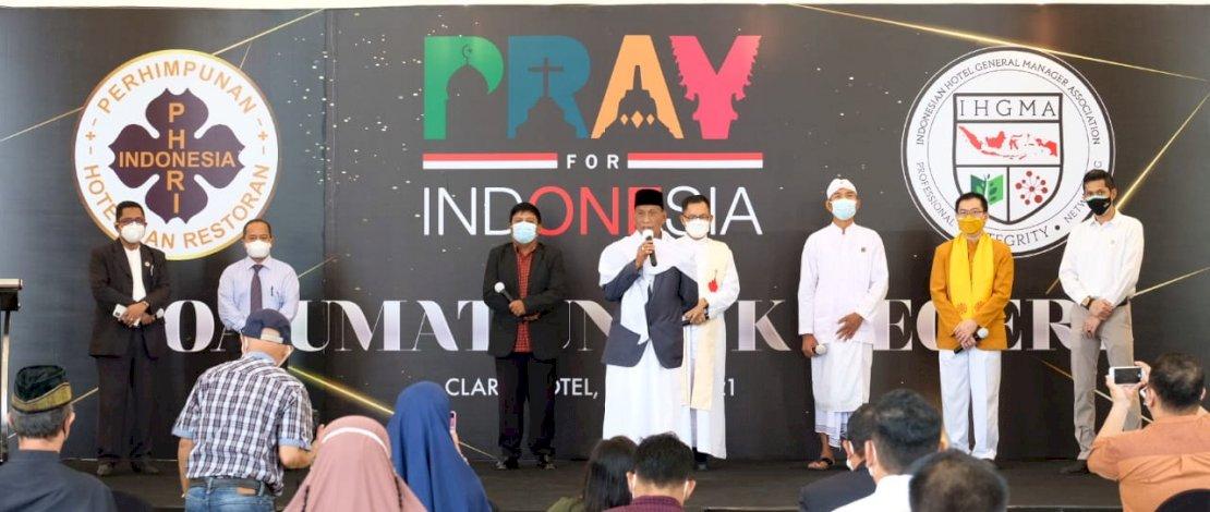 Doa bersama PHRI & IGHMA Sulsel di Claro Hotel, Rabu (21/7/2021).