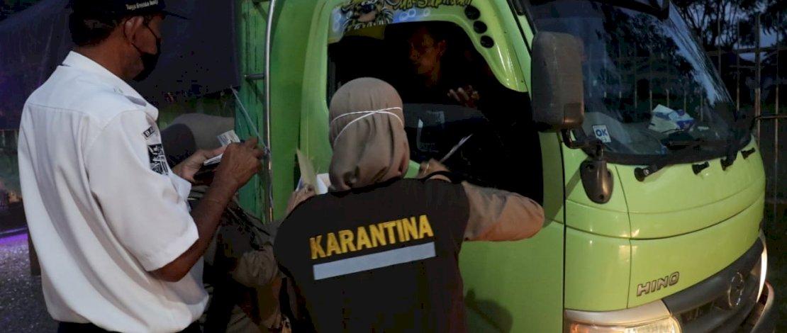 Kepala Balai Karantina Pertanian Makassar, Lutfie Natsir SH MH, turun langsung memimpin operasi patuh karantina, di Pelabuhan Bajoe, Kabupaten Bone, Rabu, 8 September 2021.