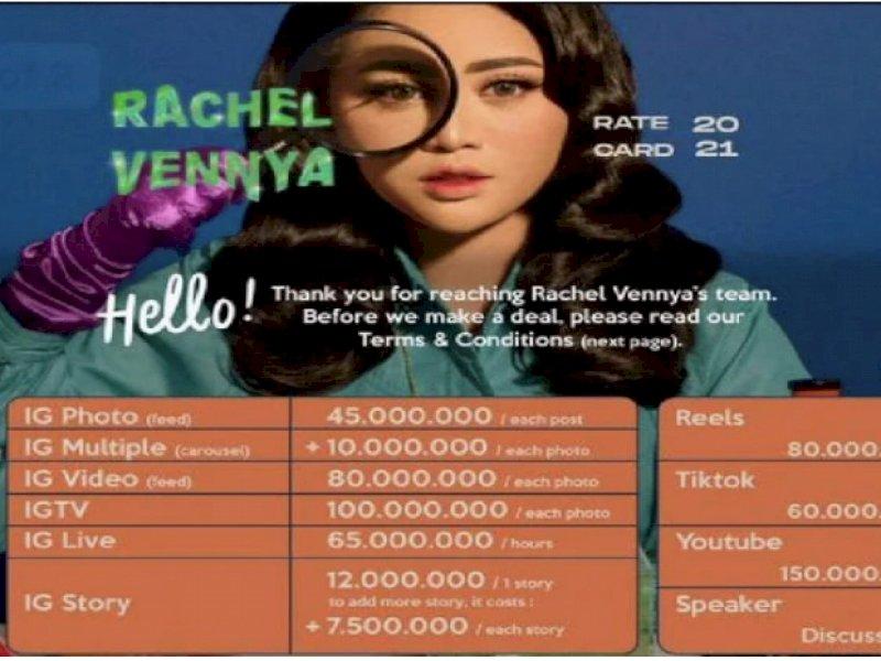 Tarif Endorse Rachel Vennya Capai Ratusan Juta Sekali Posting, Tertarik Promosikan Brandmu ?