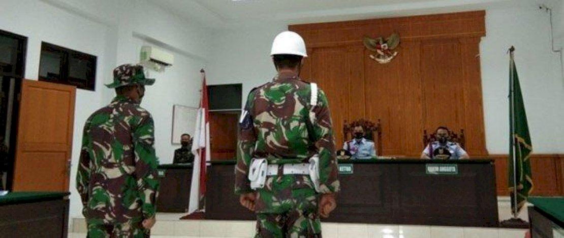 Praka Martin menjalani sidang di Pengadilan Militer Medan.